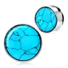 """PAIR-Turquoise Stone Inlay Steel Double Flare Ear Plugs 14mm/9/16"""" Gauge Body Je"""