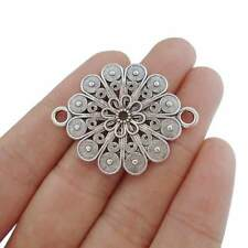 10 x Tibetan Silver Tone Flower Connector Charms for Bracelet Jewellery Making