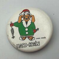 "HARE-BRAIN James Harris 1-3/4"" Button Pin Pinback Rabbit In Ski Outfit  P1"
