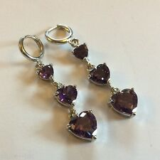 J13 Amethyst heart drop dangle silver earrings (white gold GF) 55mm long BOXED