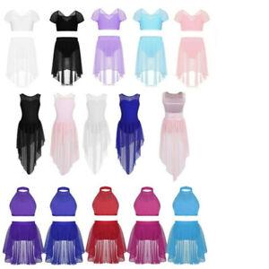 Girls Lyrical Dance Leotard Dress Praise Ballet Crop Tops+Skirt Shorts Outfits