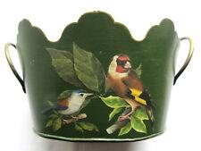 Jardinière ovale à 2 anses, tôle peinte verte décorée d'oiseaux perchés