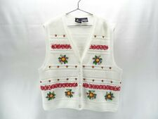 Lizsport Cardigan Sweater Vest Women's L Tennis Golf White with Floral Beading