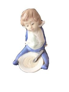 """Nao by Lladro Gloss Figurine """"I'm Full"""" Baby Boy in Bib Sat With Bowl & Spoon"""