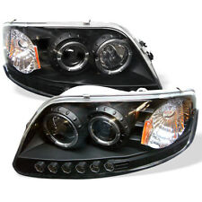 Ford 97-03 F150 / Expedition  Black Dual Halo LED Projector Headlights Lamp