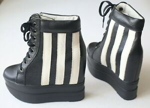 New Leather Black White Wedge Hidden Heel Boots Sneakers Shoes Lace size 38 US 8