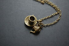antique teapot and tea cup necklace vintage kitsch
