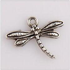 20 Small Dragonfly Tibetan Silver Pendants Jewelry Making Findings HN92