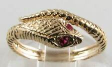 UNUSUAL 9K 9CT GOLD INDIAN RUBY COILED SNAKE ART DECO INS RING FREE RESIZE