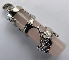 ** En Forma De Cilindro De Cuarzo Rosa Colgante Con Espiral Dragon & Encerado Cable Collar **