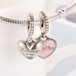 New 925 Sterling Silver Mother & Daughter Pink Enamel CZ Drop Pandora Charm