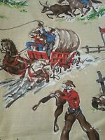 NOS VINTAGE MID CENTURY BARKCLOTH COWBOY - WESTERN - HORSES - WAGONS - ROUND UP
