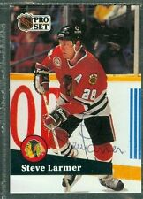 Steve Larmer Auto 1991-92 NHL Pro Set '91 Signature Autograph Signed Card #49