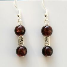 New Pair Brown Glass Drop Dangle Earrings With Sterling Silver Hooks LB655