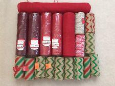 HUGE Burlap and Decorative Fabric material lot - craft lot - many rolls - LOOK