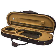 NEW Halfmoon Deluxe 4/4 Size Acoustic Violin Fiddle Case Coffee/Khaki w/ Strap