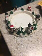 Christmas Large Jar Candle Holder/Base w/ Snowmen Snowman  Tree Ceramics