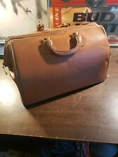 Vtg Mutual Brand Split Cowhide Brown Leather Large Doctor Travel Bag Overnight