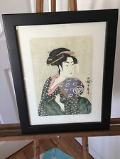 JAPANESE UKIYOE OFFSET PRINTING OHISA WITH A FAN BY UTAMARO KITAGAWA PRINT