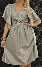 Trendy Femme Girly Robe Tunique Argent Pierres Satin Brillant 34/36/38 Gris