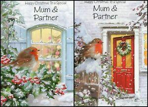 'MUM & PARTNER' CHRISTMAS GREETING CARD - MULTIPLE DESIGN'S - FREE P&P