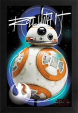 STAR WARS THE LAST JEDI BB8 ROLL WITH IT 13x19 FRAMED GELCOAT POSTER EPISODE 8!!