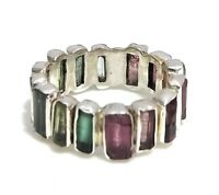Green pinkTourmaline Natural Gemstone Handmade 925 Sterling Silver Ring Size 7
