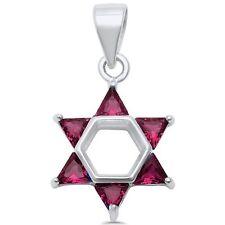 Star of David Ruby .925 Sterling Silver Pendant
