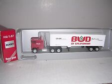 """Herpa #854001 Freightliner Cab w/40' """"Bud of Cal."""" BoxTrailor """"White"""" H.O.Gauge"""