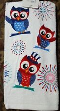 COTTON KITCHEN TERRY DISH TOWEL  Summer Owls Home Sweet Home   Red White Blue