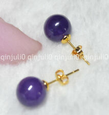 Pretty 10mm Jewelry Natural  Amethyst Ball Gold Stud Earrings JE71