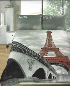 PARIS EIFFEL TOWER RIVER SEINE BRIDGE REVERSIBLE 3D KING DUVET SET GREY RED