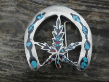 Vintage (1970'S) SILVER buckle-inlay turquoise AND RED CORAL marijuana leaf.