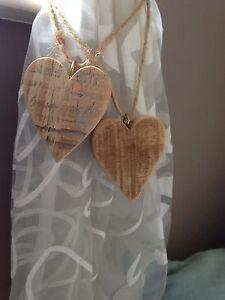 Curtain Tie Backs Hearts Wood Shabby Chic