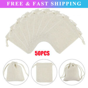 50x Drawstring Bags Cotton Linen Jewelry Candy Gift Storage Pouch Party DIY