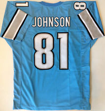 CALVIN JOHNSON BLUE UNSIGNED CUSTOM JERSEY  XL