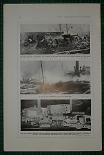 1916 WWI WW1 PRINT ~ DOCK FIRE AT BROOKYLYN MOTOR CARS GERMAN JEWELLRY EXPORTED