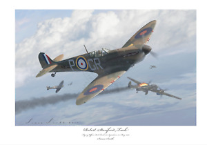 BATTLE OF BRITAIN ACE R.STANFORD TUCK SPITFIRE MK1 LIMITED EDITION SIGNED PRINT