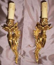 2 appliques en bronze doré style LOUIS XV / Rocaille à riche décor feuillagé