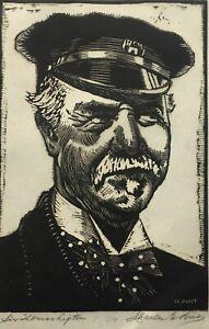 "CHARLES PONT - SIGNED Original Woodcut Woodblock Print ""Sir Thomas Lipton"""