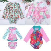 Newborn Baby Girls Swimsuit Toddler Floral Long Sleeve Bodysuit Rash Guard Beach