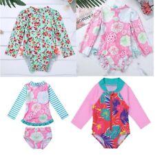 Sz 6M/–5T Flamingos Sun-Protective Nageuret Swim Shirt Swimsuit Baby Rash Guard Girls