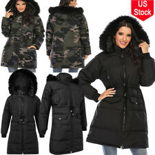 Women's Winter Warm Fur Collar Hooded Long Coat Jacket Parka Trench High quality