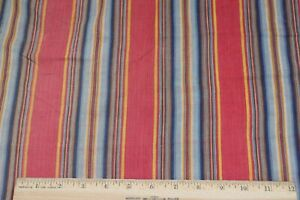 Antique c1850 French Turkey Red, Indigo & Yellow Cotton Ticking Stripe Fabric