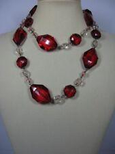 s247) schicke lange Damen Kette Halskette Hänger Glasoptik Rubin Rot Klar 44cm