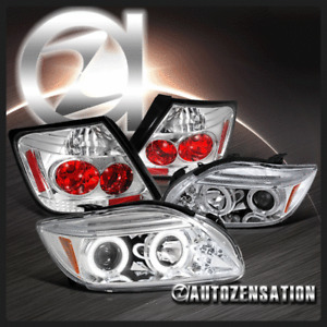 For 05-10 Scion tC Chrome Halo LED Projector Headlights+Clear Tail Lamp