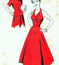 "RARE Vintage 50s HALTER & FULL SKIRT DRESS Sewing Pattern FF Bust 34"" Sz 10 PROM"