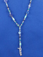 Lucky Brand Silvertone Blue Turquoise Beaded PEACE Rosary Necklace JLRU9093 $45
