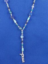 Lucky Brand Silvertone Blue Turquoise Beaded PEACE Rosary Necklace JLRU9093 $45