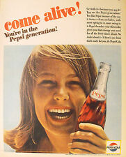 1965 Pepsi-Cola Soda-Pop Smiling Young Girl You're in the Generation Promo AD